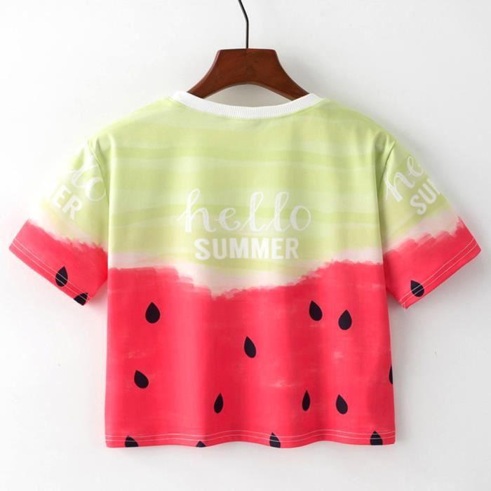 T Géométrique D'impression shirt O Animal À Manches Femmes Mode cou Courtes En Vrac FaZWnPnqA