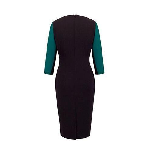 Robe Femme Patchwork Coupe Cintrée Manchon Moyen Hip Paquet Généreuse Mode