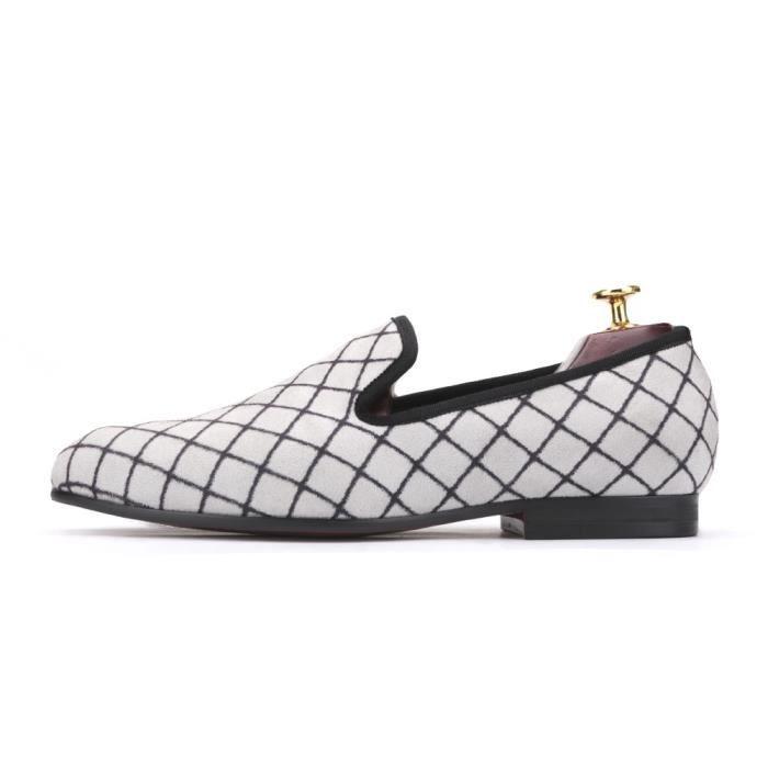 Quatre couleurs Lattice Hommes velours Chaussures Homme Mode Mocassins Taille Plus Fumer Slipper Flats Hommes Taille Plus zl67T