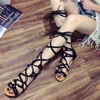 Sandales Femme Spartiates hautes chaussures de talon plat de Couleur Noir txuY5dFHi