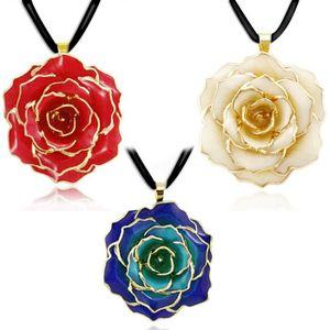 Pendentif Fleur Rose Plaque Or Achat Vente Pas Cher