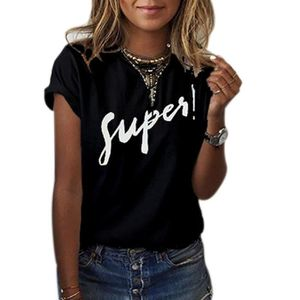 T-SHIRT T-shirt femme manches courtes 'super' Noir ...