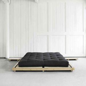 STRUCTURE DE LIT Lit futon style japonais en bois massif coloris na