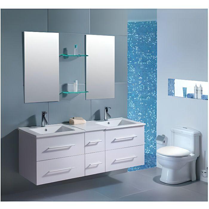 Meuble de salle de bain Venus 2 vasques + 2 miroirs - Blanc - Achat ...