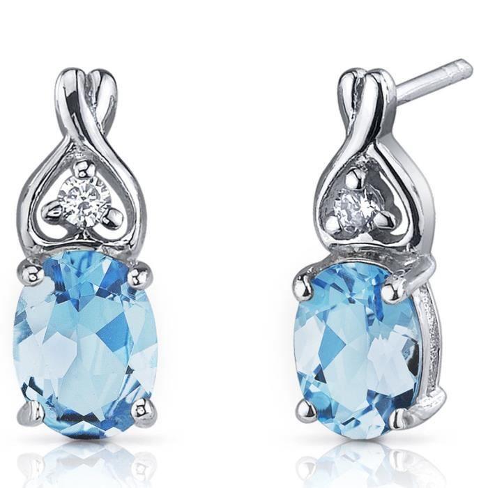 Boucles doreilles topaze bleue suisse des femmes en argent sterling rhodié Nickel Terminer 250 Carats style classique YPO5J