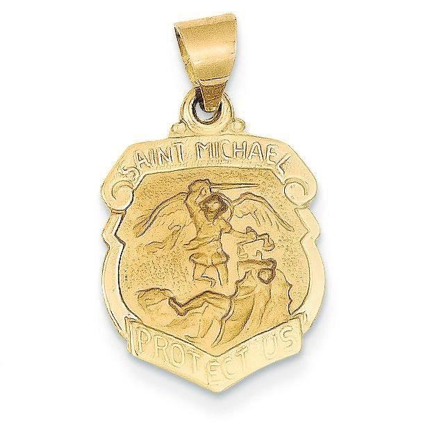 Et satiné poli 14 carats Ecusson Médaille Saint Michael Pendentif