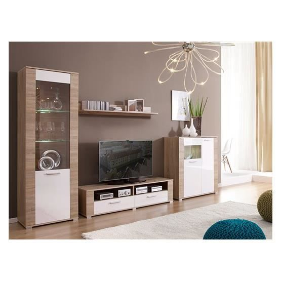 Meuble Tv Design Erness Bois Clair Et Blanc Composition Bois
