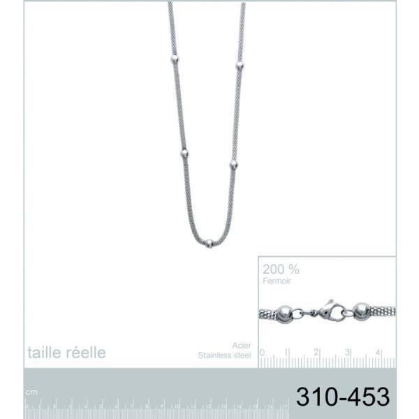 Collier sautoir pour femme avec perles en acier