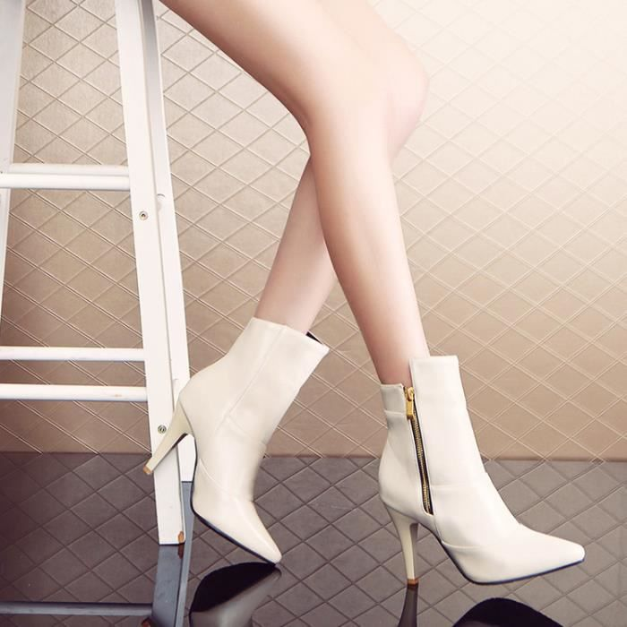 bottes courtes-Pure Color High Heel Heel Thin W...