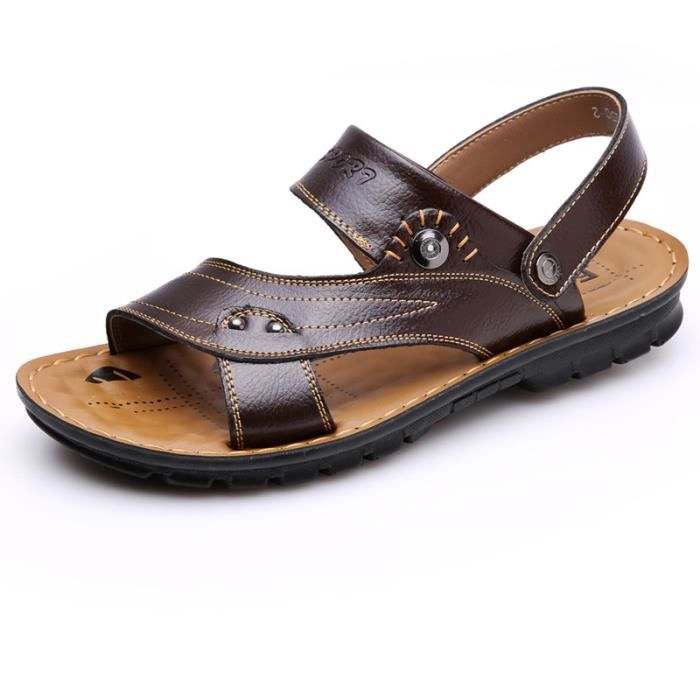 SANDALE - NU-PIEDS Sandales Homme Mode PU Sandales Casual Extérieur p