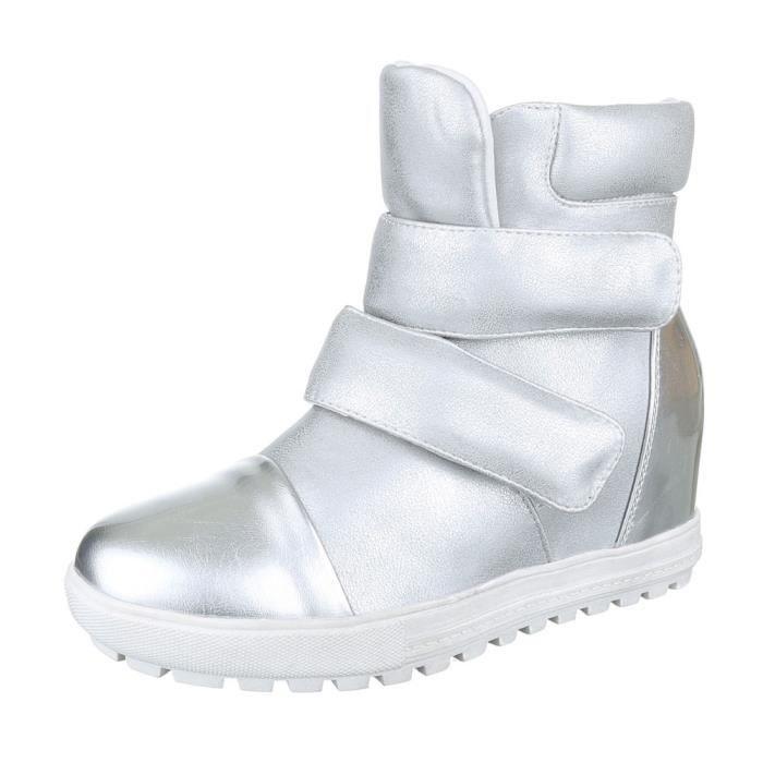 femme bottine chaussure semelle compensée Wedges botte noir