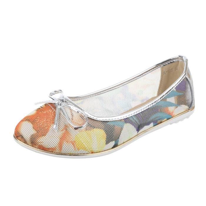 Femme chaussures ballerines perforé escarpin argent Multi 36