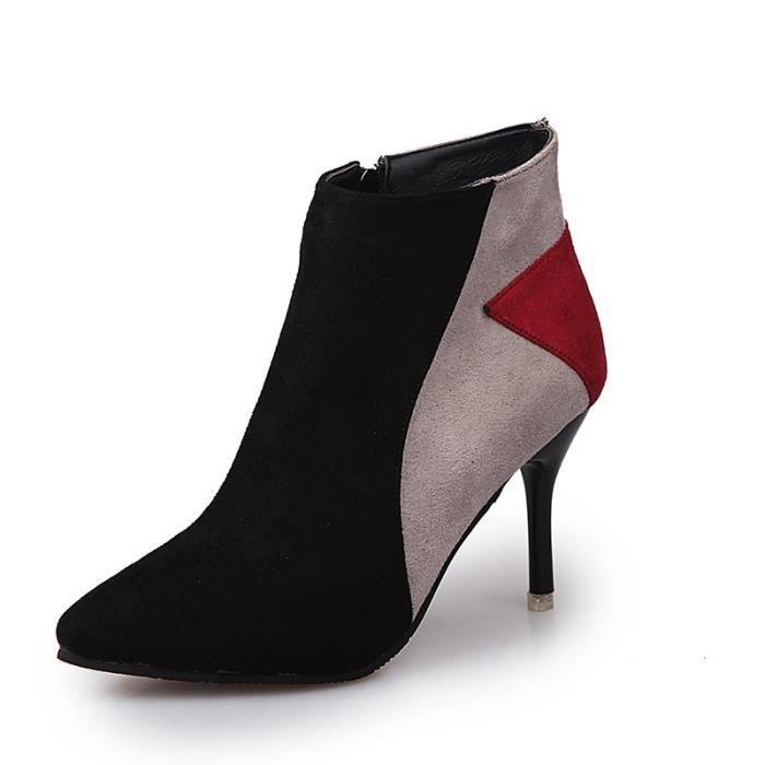 Nouveaux Chaussures Femme Bottes Talons Bottines bout pointu Boucle Martin Bottes Ladies Zip Chaussures,noir,37
