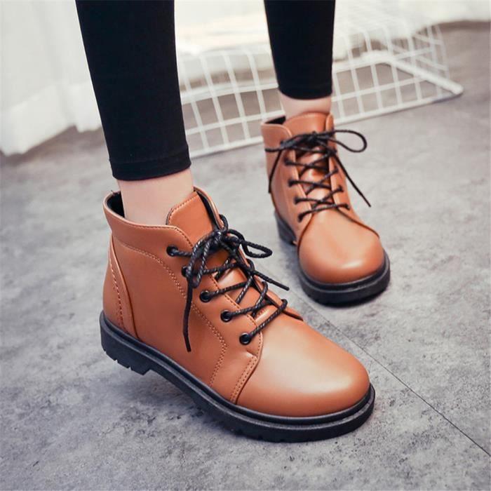 Chaussure Couleur Bottines Marque 35 Confortable De Cool Supérieure noir Unie Marron Antidérapant Luxe Femmes Qualité 40 rXXwgEvq