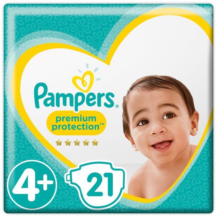 COUCHE PAMPERS Premium Protection Taille 4+ 9-18 kg - 21