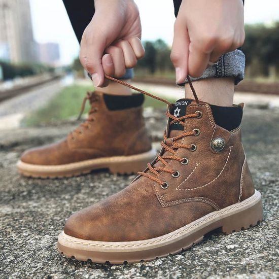 Bottes Montantes Mode Hommes Martin Sneakers Casual Marron Chaussures Bottines 8wkn0OP