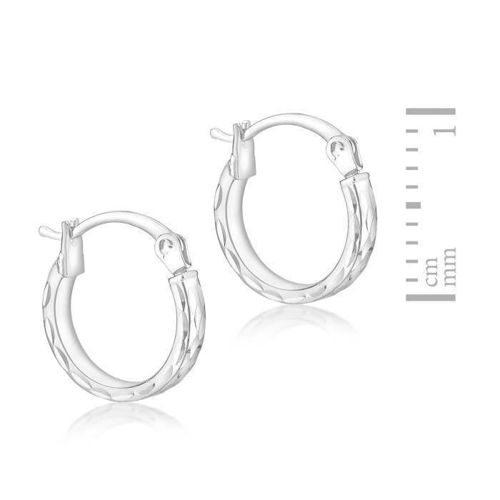 Boucles Doreilles - 9carats (375-1000) - Or Blanc - Femme Z24P6
