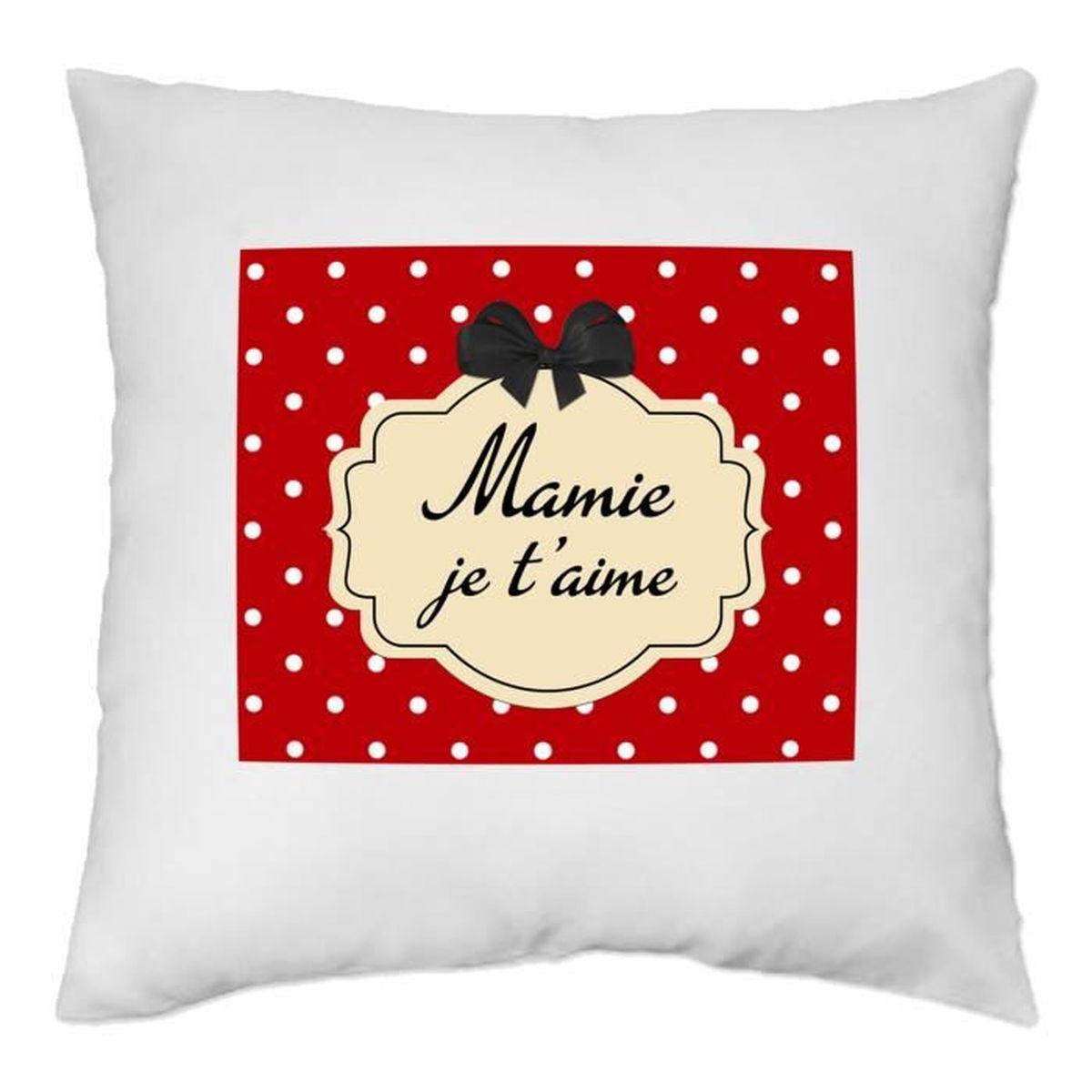 housse de coussin mamie je t 39 aime rouge achat. Black Bedroom Furniture Sets. Home Design Ideas