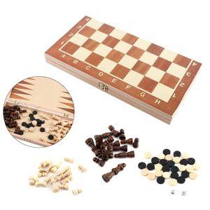 JEU SOCIÉTÉ - PLATEAU Jeu d'échecs en bois 3in1 classique Pièces Boîte p