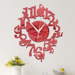 HORLOGE - PENDULE Miroir Chat unique mur rouge Horloge design modern