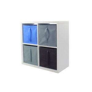 MEUBLE ÉTAGÈRE COMPO Meuble De Rangement 4 Cases + 4 Cubes Bleu/G