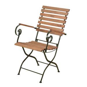 Chaise pliable bois/métal - crème Crème,Bois - Achat / Vente ...