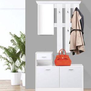 MEUBLE D'ENTRÉE Vestiaire d'entrée avec miroir design blanc portes