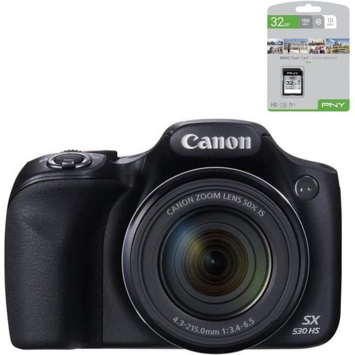 CANON POWERSHOT SX530 HS Bridge Noir + PNY Carte mémoire Offerte SD 32Go Elite C10 U1 O