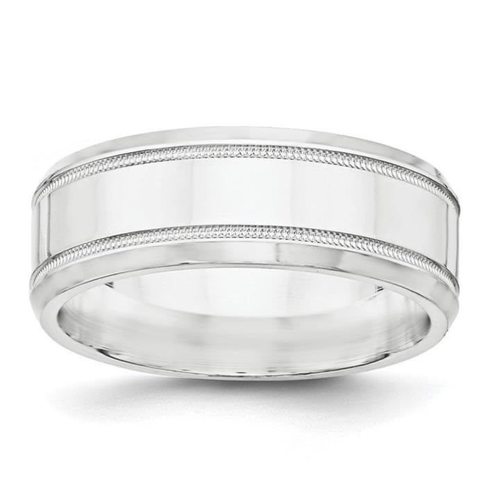 8 mm-Argent fin 925/1000 poli-Bague femme-Taille 1/2–JewelryWeb