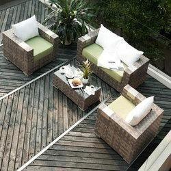 Salon de jardin Tatta VI RESINE TAUPE COUSSINS … - Achat / Vente ...