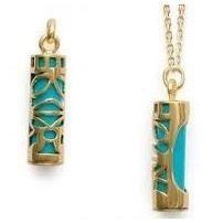 Grand pendentif tiki turquoise