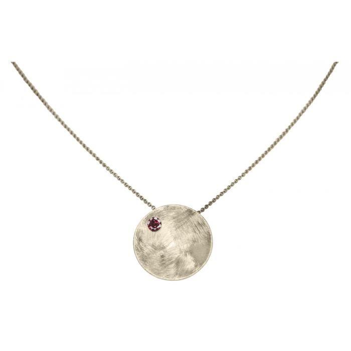 Gemshine - Femmes - Collier - Pendentif - Argent 925 - coquille - géométrique - Design - Grenat - Rouge - 45 cm