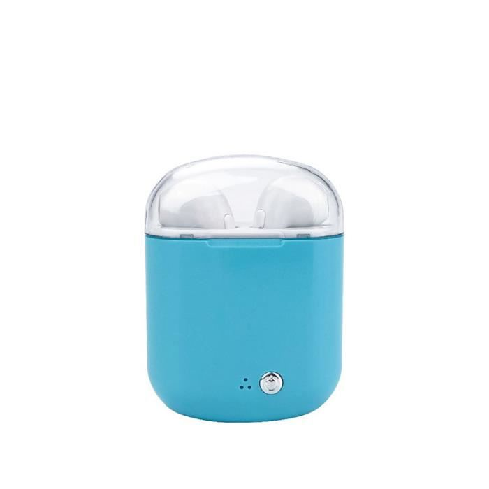 Moonmini® I7s Plus Oreillette Bluetooth Binaural Sans Fil Vraie Stéréo Avec Casques De Chargement-bleu