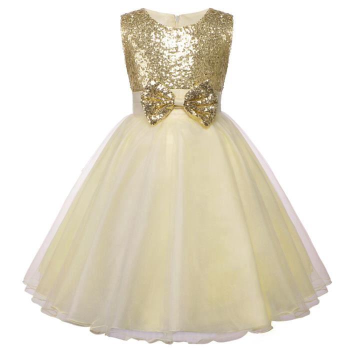 b88d09ca8c200 TFJH Robe Princesse Fille Robe Mariage Soirée Costume Cérémonie Demoiselle  Baptême Enfant Jupe Longue Nœud Papillon 2-8 Ans