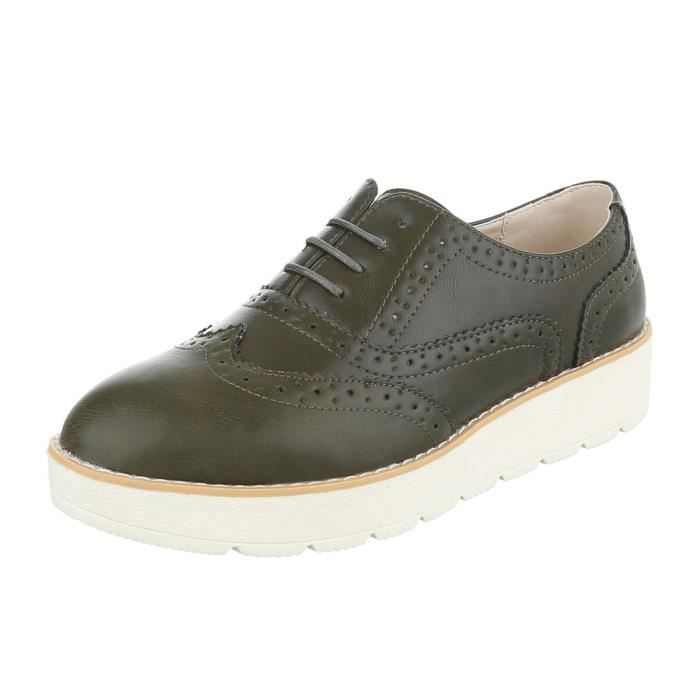 Femme chaussures flâneurs lacer kaki 41