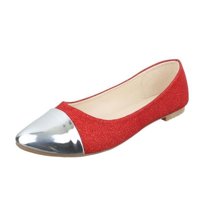 6bbed8d8e0af5 Femme chaussures ballerines escarpin rouge argent 40 Rouge Rouge ...