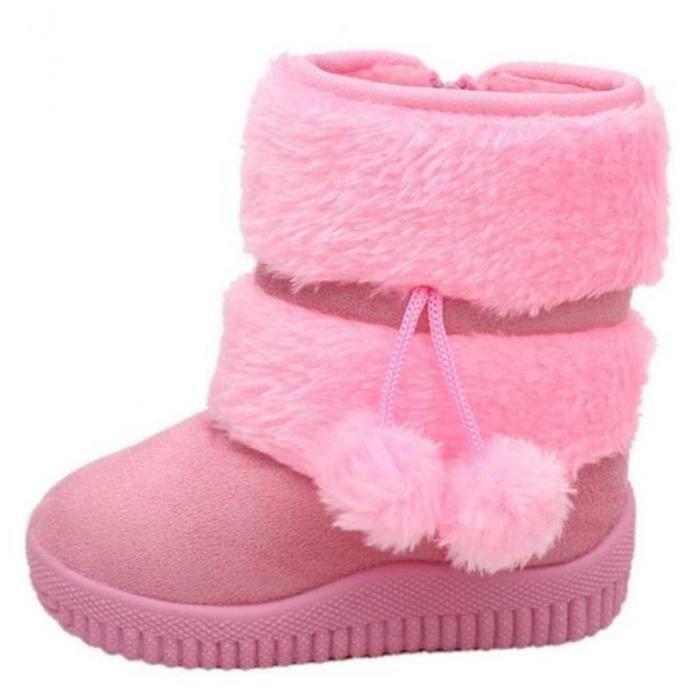 Hiver Bottes Enfants En Peluche Chaussures Filles Garçon Bottines XFP-XZ095Rose34 tyixImpKG