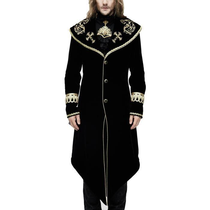 Manteau homme long en velours noir avec broderies et galons dorés, élégant  aristocrate d1c447d8e3c3
