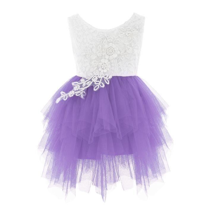 84857becffebe Princesse Robe Cérémonie Bébé Enfant Fille Tutu Robe Bapteme 18-24 Mois  Blanc Violet
