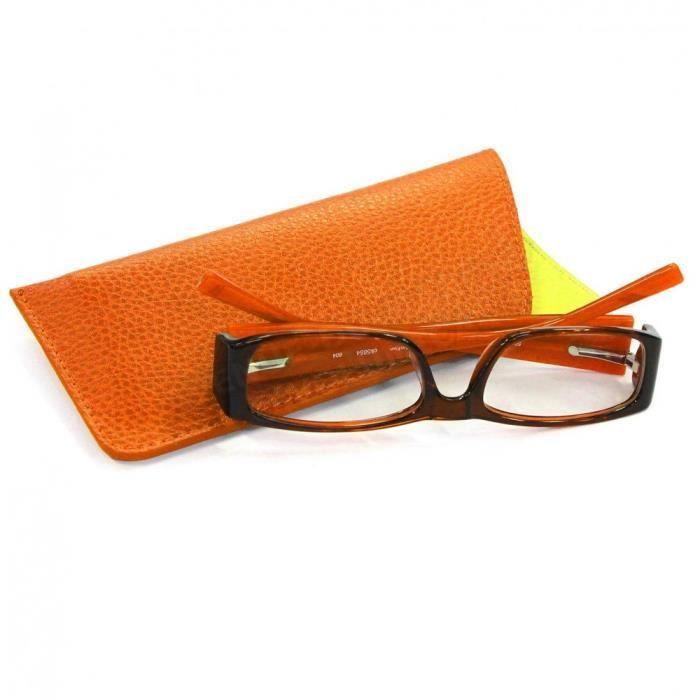 Etui lunettes souples cuir Orange - Achat   Vente etui a lunettes ... 3ed59d8c8889