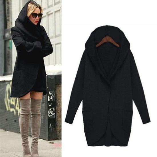 Jacket Casual À Loose Pardessus Noir Femmes Manteau Mince Top Capuchon Woollen Dames Hoodies ETx8wqzA