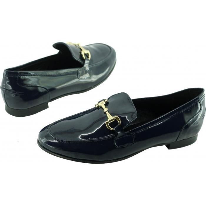 HINDA - mocassin à mors casual petit talon slippers chaussure femme marque Angelina fabrication Espagne cuir vernis bleu marine
