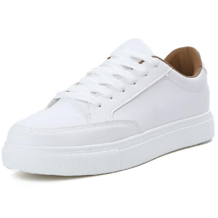 Basket Blanc 9 Casual respirant PU plates en cuir Antidérapants à lacets Confortable Chaussure Taille Plus Up 2 couleurs disponibles