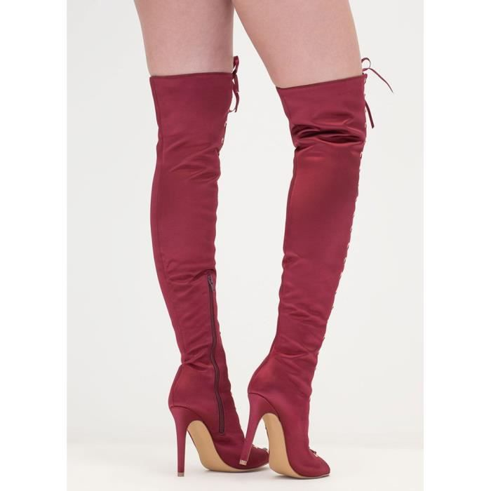 Lace Up Peep Toe Thigh High Boots Fence OIDOE Taille-39