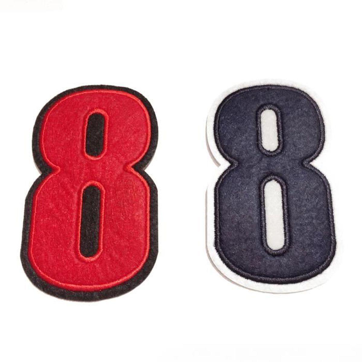 ecusson brodé à coudre couleur rouge motif de chiffre au choix – 8