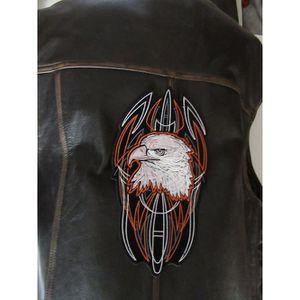 ACCESSOIRE CASQUE Grand patch dorsal tête d'aigle et striping orange