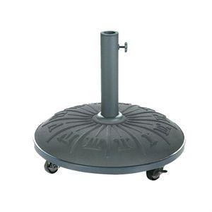 DALLE - PIED DE PARASOL Pied de parasol béton noir avec motif 25 Kg