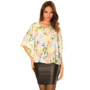42e0c328511 TUNIQUE Miss Wear Line - Top rose à fleurs avec manches ch ...