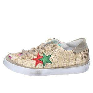 5465545fb7469 BASKET 2 STAR Chaussures Femme Baskets Doré BZ542