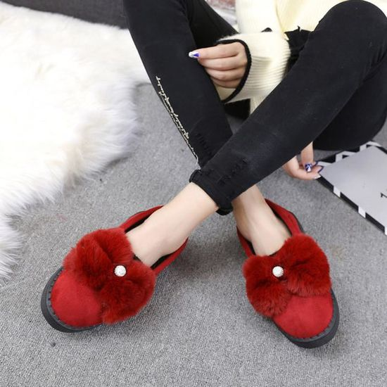 Femmes Chaud Appartements Chaussures Neige Femmes Automne Hiver Chaussures Mode rouge  hyu-392 Rouge Rouge - Achat / Vente slip-on